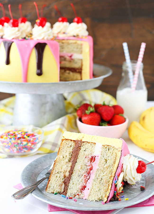 Banana Split Ice Box Cake Recipe